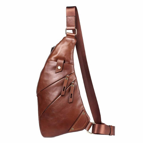PINkart-USA Genuine Leather Sling Bag Back Pack Men Crossbody Shoulder Messenger Chest Pack Bags Vintage