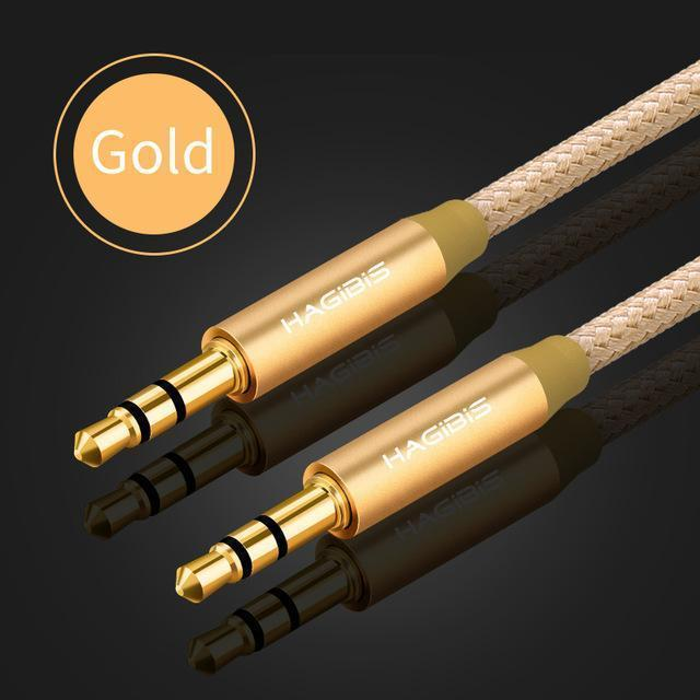PINkart-USA Gold / 3m 3.5Mm Jack Audio Cable Gold Plated Plug Aux Cable Male To Male For Car Iphone Mp3/Mp4 Headphone