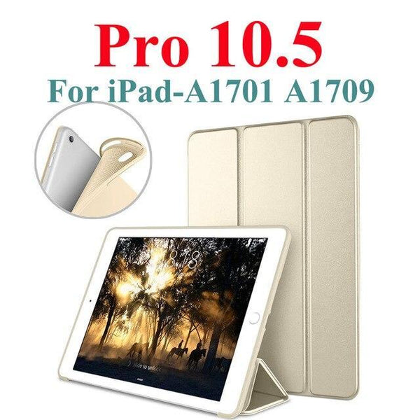 "PINkart-USA Gold For iPad Pro 10.5 Case iPad Air 3 Funda, PU Leather with Silicone Soft Back Smart Cover for iPad Air 3 3rd Gen 10.5"" 2019 Case"