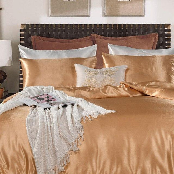 PINkart-USA Gold / King 2/3Pcs Luxury Satin Silk Bedding Set White Pure Color Duvet Cover Set European Style Simple
