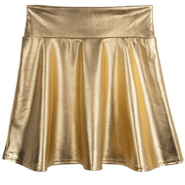 PINkart-USA gold / S Spring Summer Women Black Mini Skirt Korean Elastic High Waist Skirt Shortsfaux Leather Umbrella