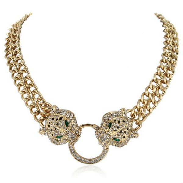PINkart-USA Gold Tone / China Bella Fashion Panther Leopard Animal Choker Necklace Austrian Crystal Rhinestone Statement Necklace