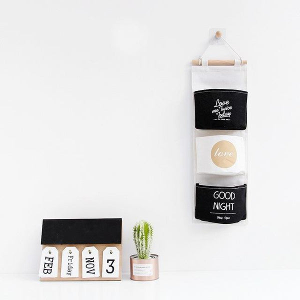 PINkart-USA good night Cotton Linen Storage Bag Waterproof Wall Hanging Multi-Layer Frame Makeup Jewelry Storage Box
