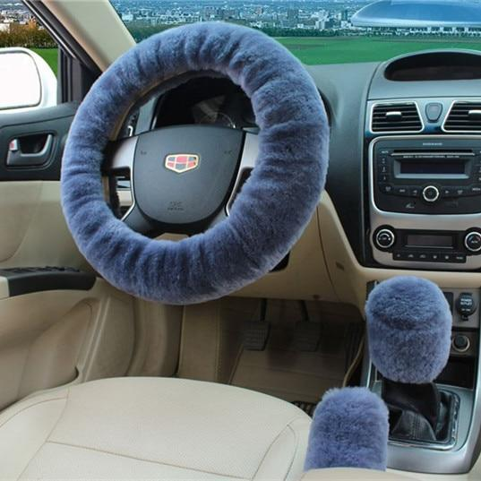 PINkart-USA Gray 100% Wool Braid On The Steering Wheel Cover Of Car Handbrake Grip /High Quality Wool Plush Gear