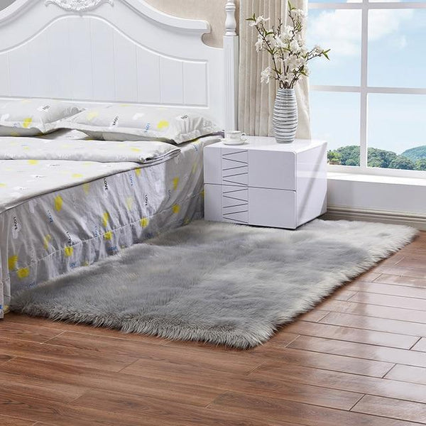 PINkart-USA Gray / 100x180cm Sheepskin Rug Artificial Wool Warm Hairy Carpet Rectangle Seat Pad Fur Throw Rugs Mat For Bedroom