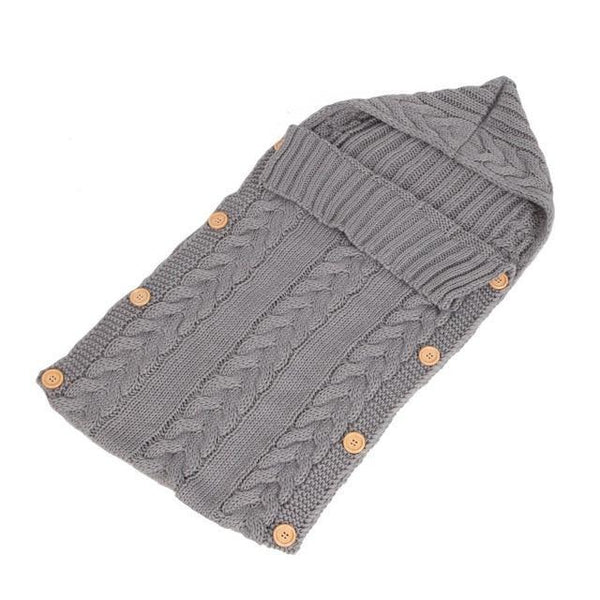 PINkart-USA Gray Baby Sleeping Bag Born Knit Crochet Winter Hooded Stroller Swaddle Blanket Soft Solid Wrap