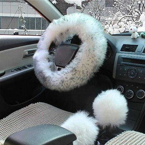 PINkart-USA Gray / China 1 Set 3 Pcs Soft Wool Steering Wheel Cover Universal/O Shi Car Winter Warm Plush Sheepskin Braid On