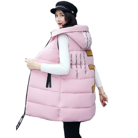PINkart-USA GRAY / L Autumn Winter Women V Waistcoat Women'S Sleeveless Jacket Cotton Warm Hooded Long V Female Coat V