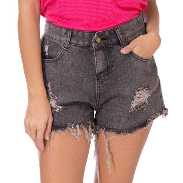 PINkart-USA gray / L / China Arrival Casual Summer Hot Sale Denim Women Shorts High Waists Fur-Lined Leg-Openings Plus Size Sexy