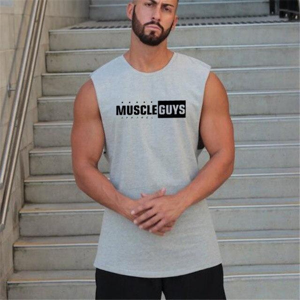 PINkart-USA Gray / L Muscle Guys Men'S Vest Canotte Bodybuilding Mens Gyms Vest Fitness Sleeveless Shirt Tank Muscle Man