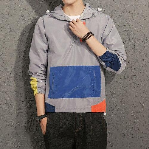 PINkart-USA gray / M Sping Jackets Men Patchwork Anorak Jacket Fashion Hip Hop Plus Size College Student Windbreaker