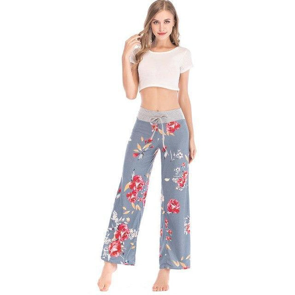PINkart-USA gray / S / China Floral Casual Wide Leg Long Harem Pants High Waist Loose Elastic Waist Palazzo Trousers Plus Size