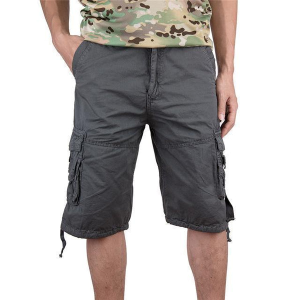 PINkart-USA gray / S Men Cargo Shorts Casual Loose Short Pants Soild Colors Summer Style Knee Length Plus Size 3