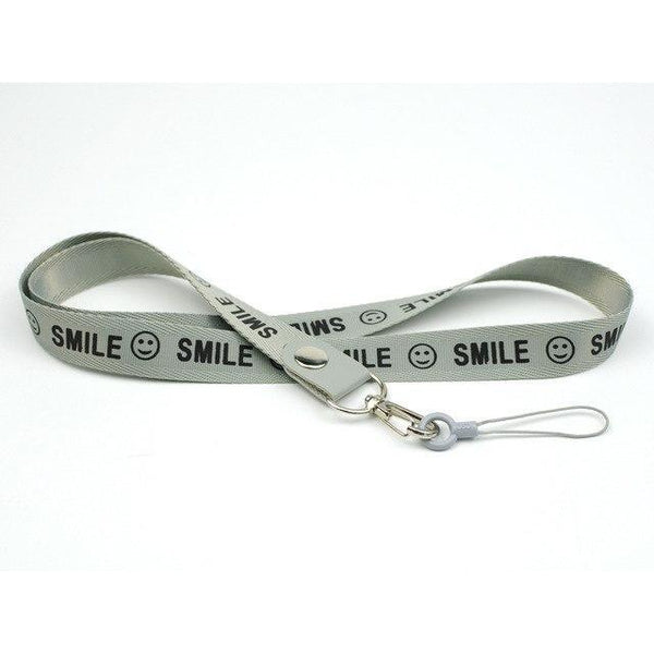 PINkart-USA gray Smile Phone Neck Strap For Keys Id Card For Samsung S6 S7 Edge Iphone 4 5 5S Huawei Usb Badge