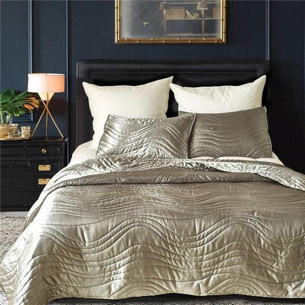 PINkart-USA Gray / US KING 3PCS 3Pcs/Set Luxury Checkered Smooth Bedspread Super Soft Solid Single Quilted Bed Quilt Bed Cover Us