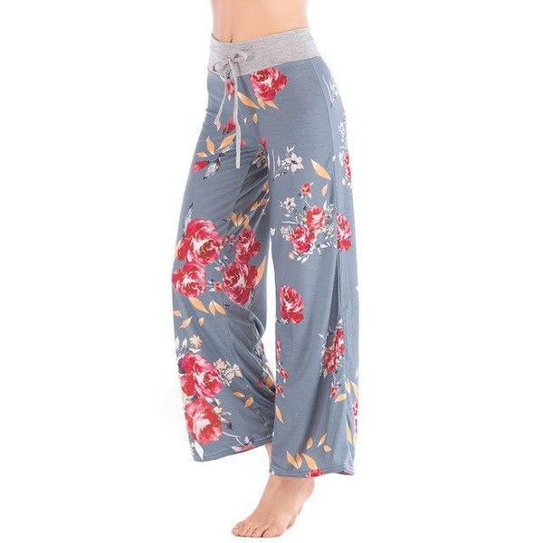 Women Loose Floral Print 2018 Wide Leg Pants Loose Mid Waist Straight Trousers Long Female Trousers