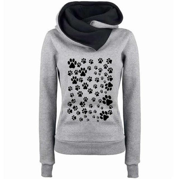 PINkart-USA Gray / XXL Fashion Dog Paw Print Sweatshirt Femmes Hoodies Women Tops Corduroy Pattern Female Cropped Street