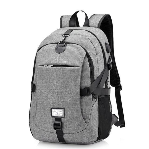 PINkart-USA gray0223 Men'S Backpack Oxford Multifunction Usb Charging Backpack Student School Backpack Travel Bag For Boys Laptop Backpacks Male