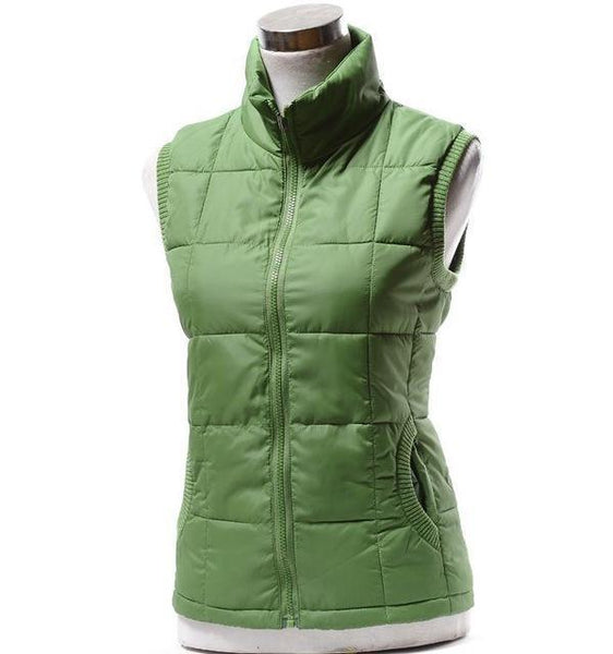 PINkart-USA green / L Autumn Winter Women Cotton V Collar Warm Down Coat Women Warm Cotton Jacket Designer Sleeveless