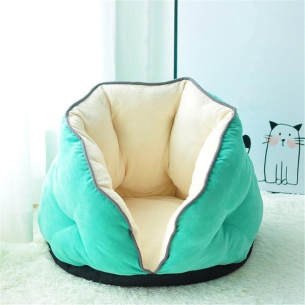 PINkart-USA green / S 0-5kg Cat Bed Winter Deep Sleep Semi-Closed Kitten House Warm Soft Dog Bed For Small Dogs Thicken Suede