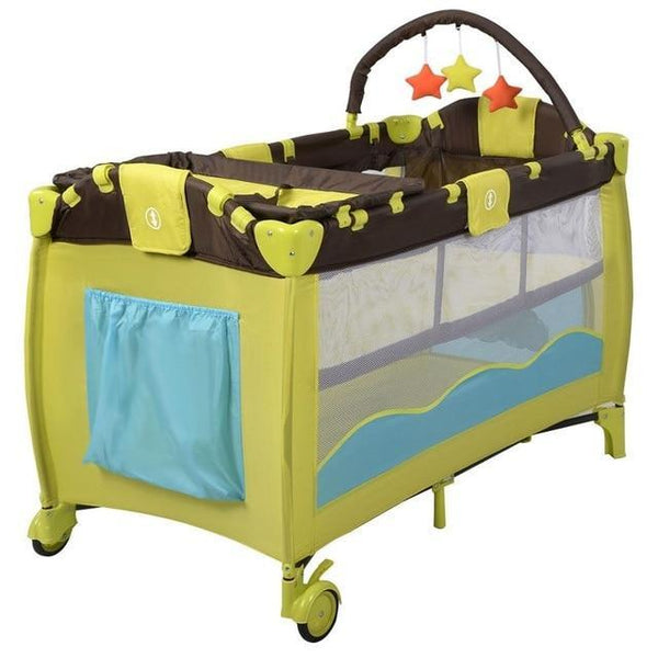 Baby Crib Playpen Playard Pack Travel Infant Bassinet Bed Foldable Pink Green Coffee Bule Bb4397