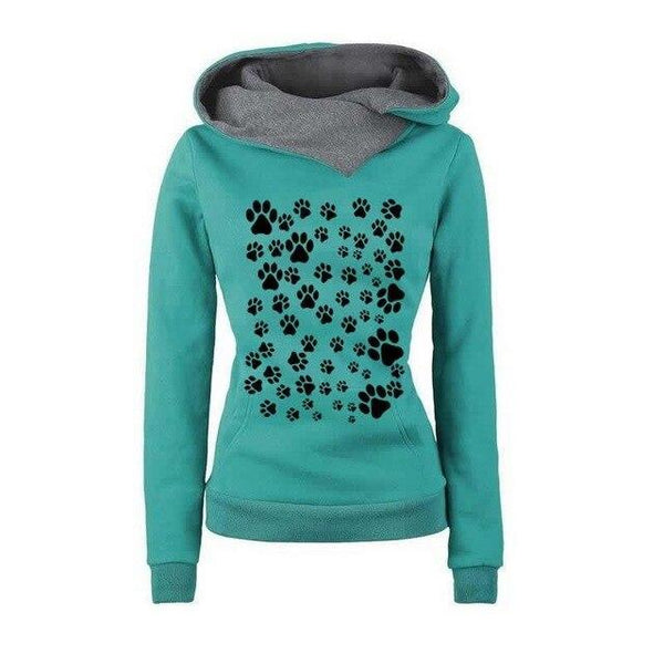 PINkart-USA Green / XXL Fashion Dog Paw Print Sweatshirt Femmes Hoodies Women Tops Corduroy Pattern Female Cropped Street