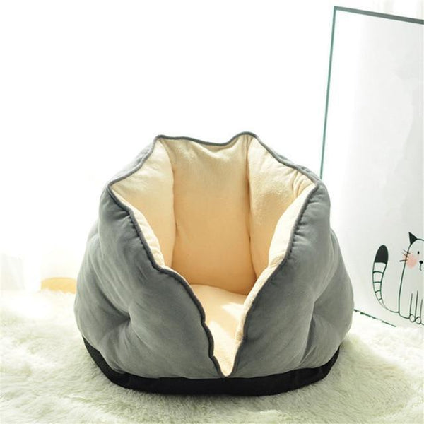 PINkart-USA grey / S 0-5kg Cat Bed Winter Deep Sleep Semi-Closed Kitten House Warm Soft Dog Bed For Small Dogs Thicken Suede
