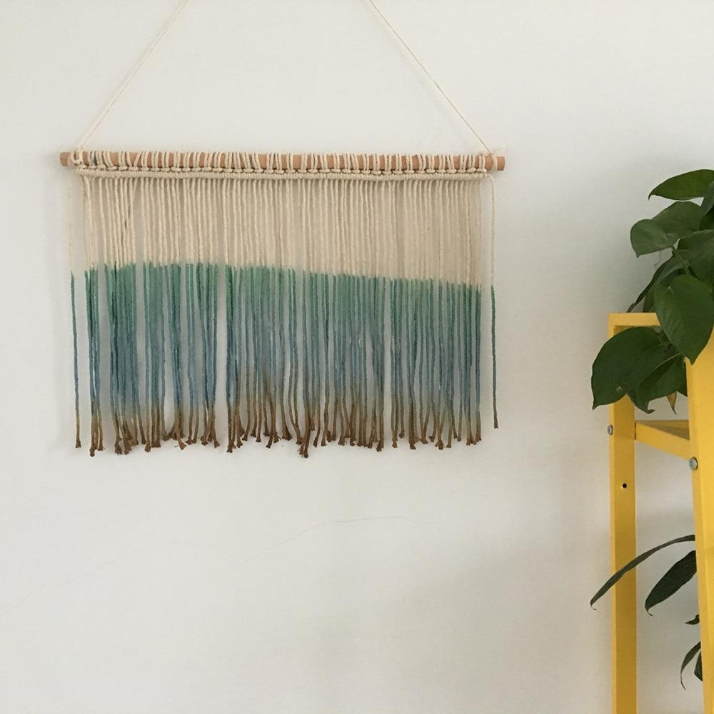 PINkart-USA Handmade Macrame Gradient Wall Hanging Blue Tassels Tapestry Home Living Room Decoration