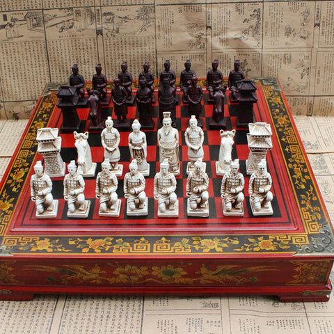 PINkart-USA High-End Collectibles Vintage Chinese Terracotta Warriors Chess Set Best Gift For Leaders Friends