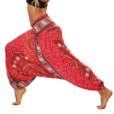 PINkart-USA High Waist Women Yoga Pants Red Fitness Trousers Sport Palazzo Dot Bottom India Style Vintage