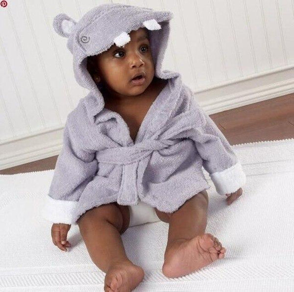 PINkart-USA hippo / 9M Infant Animal Modeling Of Home Service Cotton Hooded Bathrobes Children'S Various Shapes Of Animals