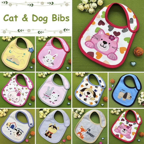 PINkart-USA Kawaii Girl Bibs Baby Cotton Cartoon Animal Burp Clothes Boys Kids Waterproof Feeding Cloth
