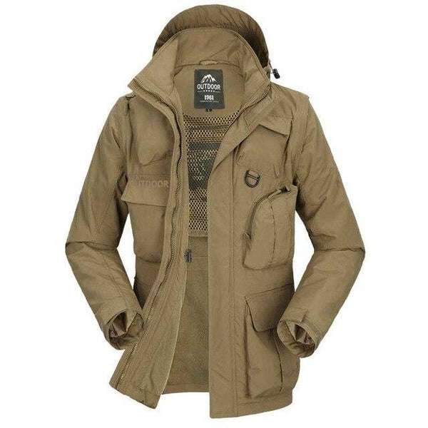 PINkart-USA Khaki / L Autumn Winter Military Windbreaker Jacket Men Casual Outwear Coat Hat And Sleeve Detachable