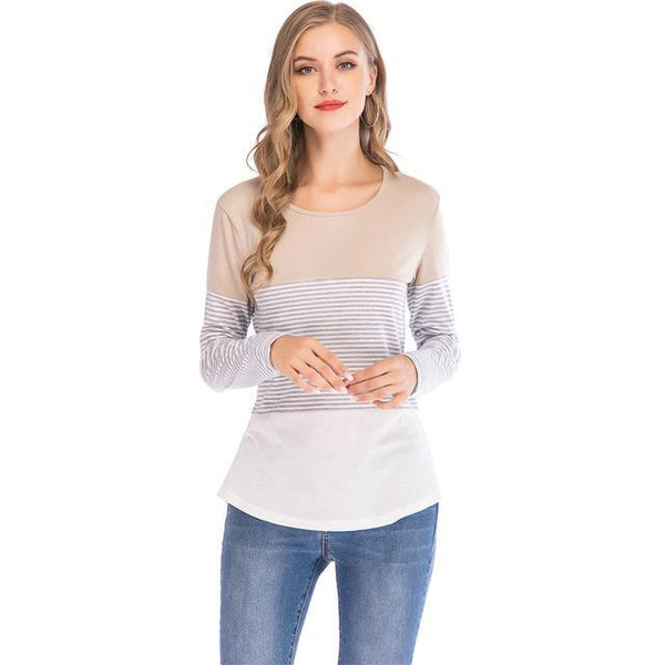 Womens T Shirts Tops Autumn And Winter Casual Loose Striped Patchwork Sleeve Tee Shirts Femme