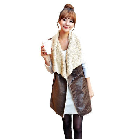 PINkart-USA Khaki / S Winter Fashion Fleece Long V Female Waistcoat Women V Coat Suede Faux Fur V Lapel Sleeveless Jacket