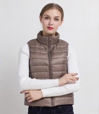 PINkart-USA Khaki / S Women Vs Winter Ultra Light White Duck Down V Female Slim Sleeveless Jacket Women'S Windproof