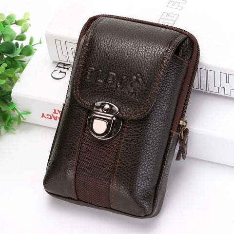 PINkart-USA Kujing Cowhide Handbags Quality Leather Men'S Wear Belt 6-Inch Mobile Phone Bag Men Travel