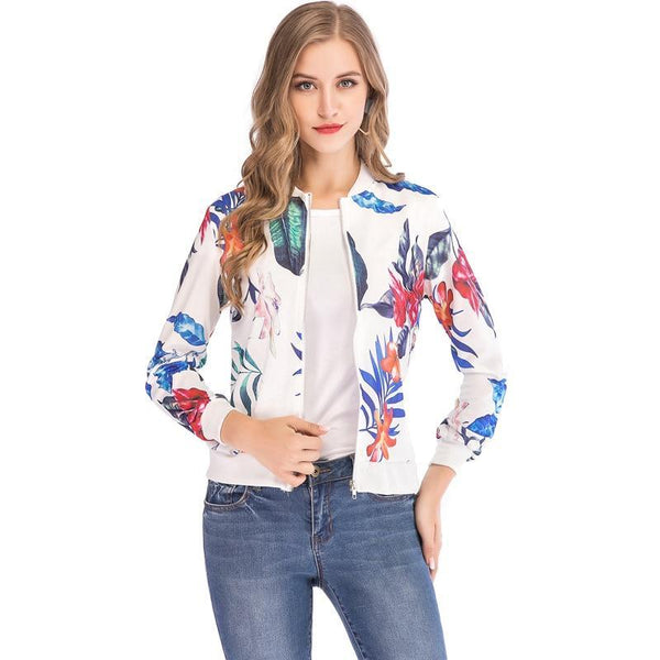 Ladies Ribbed Trim Flower Print Bomber Jacket Women Autumn Printing Long Sleeve Casual Tops