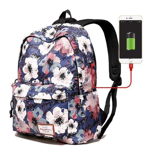PINkart-USA Large size A Water Resistant Women Backpack Flower Printing Female School Rucksack Girls 14-15.6 Inch Laptop Bag Usb Charging Mochila Escolar