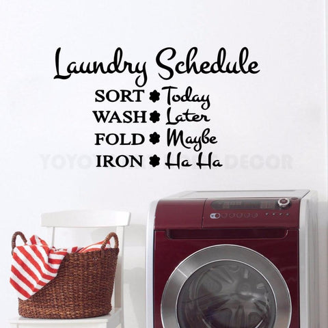 PINkart-USA Laundry Place Wall Sticker Words Wall Decal Laundry Room Decoration Vinyl Sort Wash Fold Iron
