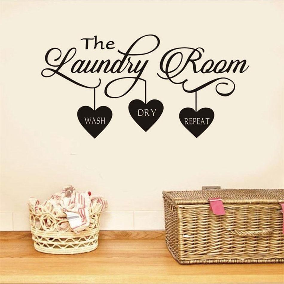 PINkart-USA Laundry Room Quote Wall Sticker Mural Hearts Home Decor Popular Vinyl Removable Art Decal Poster