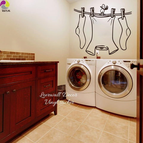 PINkart-USA Laundry Room Sign Wall Sticker Cute Clothes Line With Bird Wall Decal Laundry Room Cut Vinyl Home