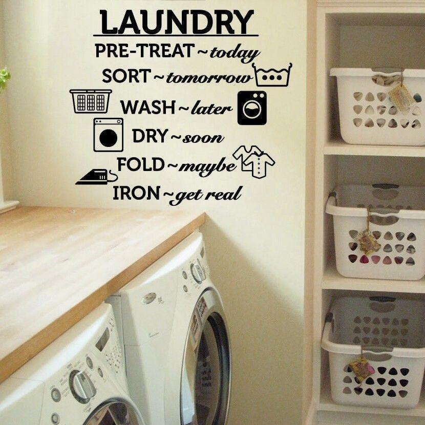 PINkart-USA Laundry Room Vinyl Wall Decal Wash Dry Fold Iron Quote Wall Sticker Laundry Room Decoration Wall
