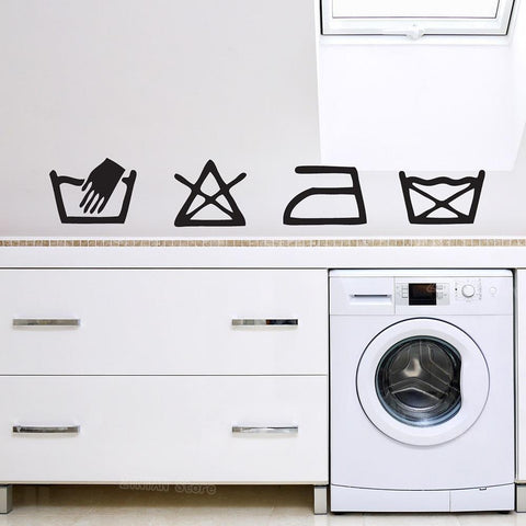 PINkart-USA Laundry Washing Symbols Utility Kitchen Wall Art Vinyl Sticker Iron Decal Mural Waterproof Decals