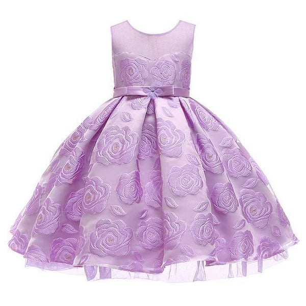 PINkart-USA Lavender / 3T Kids Girls Flower Dresses Christmas Party Dress 2 3 4 5 6 7 8 9 10 Year Birthday Outfits Dresses