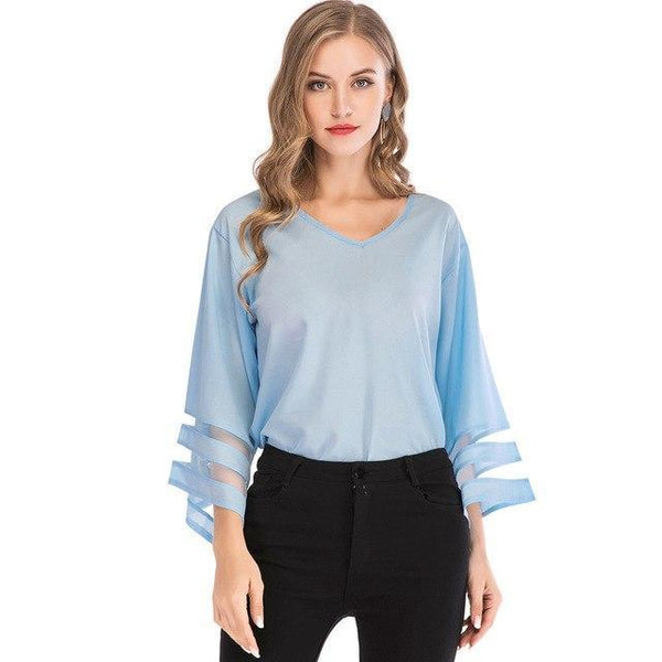 Flare Sleeve Blouse Summer Loose V Neck Tops Mesh Stitching Chiffon Shirt Plus Size Women Shirts