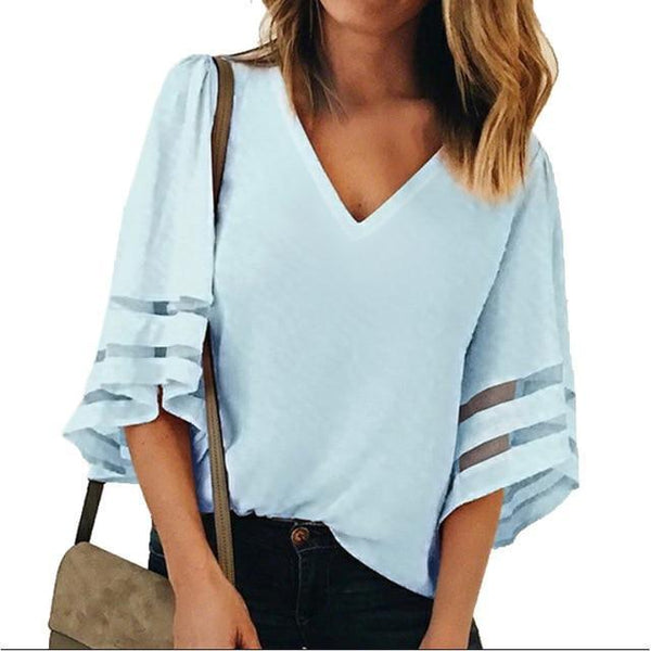PINkart-USA Light blue / S / China Sexy V Neck Casual Loose Blouse Solid Tops Women Chiffon Shirt Summer Flare Sleeve Mesh Patchwork