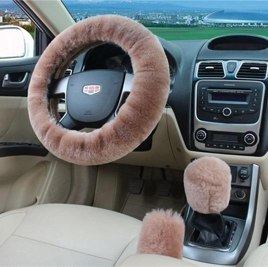 PINkart-USA Light tan 100% Wool Braid On The Steering Wheel Cover Of Car Handbrake Grip /High Quality Wool Plush Gear