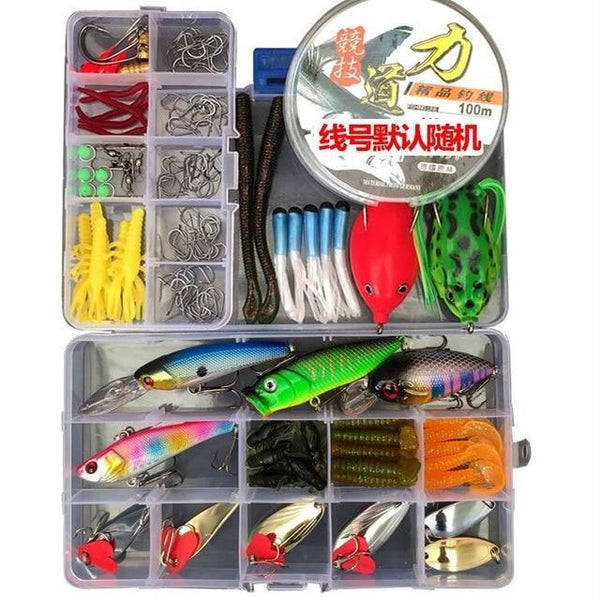 PINkart-USA lure kit with line 205/206/207Pcs Fishing Lures Set Mixed Minnow Plier Grip Spoon Hooks Soft Lure Kit In Box