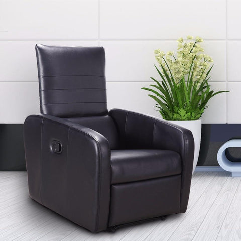PINkart-USA Manual Recliner Sofa Chair Contemporary Foldable-Back Leather Reclining Chair Modern Living Room